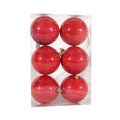 8 cm julekugle, 6 stk i boks, perlemor rød