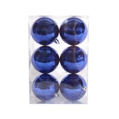 8 cm julekugle, 6 stk i boks, blank blå