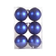 8 cm julekugle, 6 stk i boks, mat blå