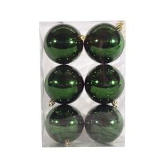 8 cm julekugle, 6 stk i boks, blank grøn