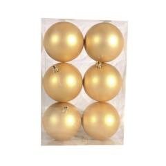 8 cm julekugle, 6 stk i boks, mat guld