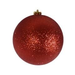 15 cm julekugle, glitter rød