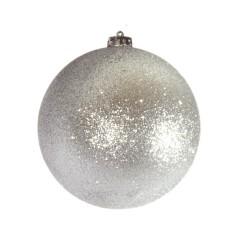 15 cm julekugle, glitter sølv