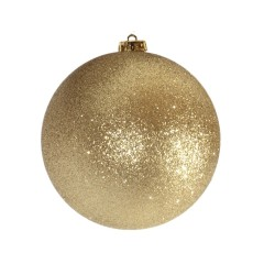 15 cm julekugle, glitter guld
