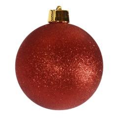 20 cm julekugle, glitter rød
