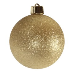 20 cm julekugle, glitter guld