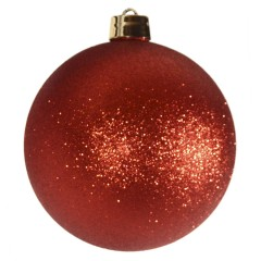 25 cm julekugle, glitter rød