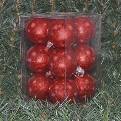 6 cm julekugler, blank med indvendig rødt glitter, 12 stk i boks