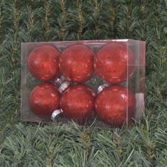 8 cm julekugler, blank med indvendig rødt glitter, 6 stk i boks