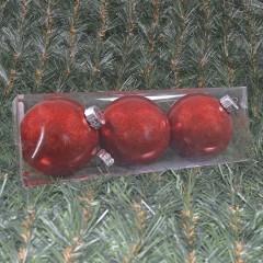 15 cm julekugler, blank med indvendig rødt glitter, 3 stk i boks