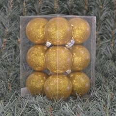 6 cm julekugler, blank med indvendig guld glitter, 12 stk i boks