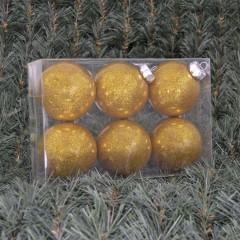 8 cm julekugler, blank med indvendig guld glitter, 6 stk i boks