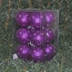 6 cm julekugler, blank med indvendig lilla glitter, 12 stk i boks