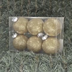 8 cm julekugler, blank med indvendig champagne glitter, 6 stk i boks