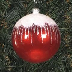 8 cm kugle, perlemor, rød m/sne, hvid og sølv glitter