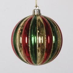 8 cm julekugle, stribet mercury, guld, rød, grøn