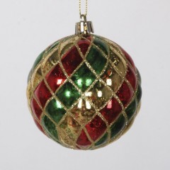 8 cm julekugle, harlekin mercury, guld, rød, grøn med guld glitter