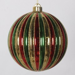 15 cm julekugle, stribet mercury, guld, rød, grøn med guld glitter