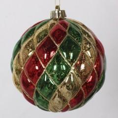 15 cm julekugle, harlekin mercury, guld, rød, grøn med guld glitter