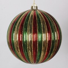 20 cm julekugle, stribet mercury, guld, rød, grøn med guld glitter