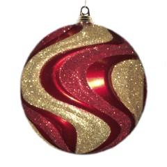 20 cm julekugle med bølger, perlemor rød med guld og rødt glitter