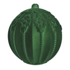 20 cm julekugle med ornamentering, grøn velour