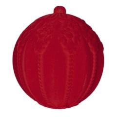 20 cm julekugle med ornamentering, rød velour