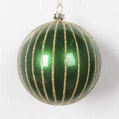 8 cm julekugle, perlemor grøn med guld glitter