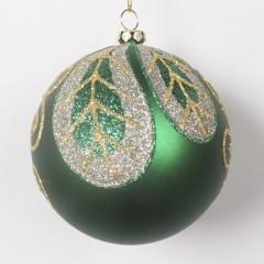 8 cm julekugle, mat grøn med blad