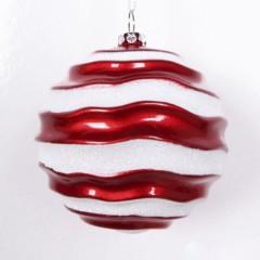 8 cm julekugle, perlemor rød med bølger af hvidt glitter