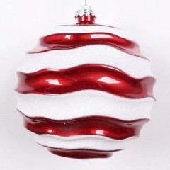 15 cm julekugle, perlemor rød med bølger af hvidt glitter