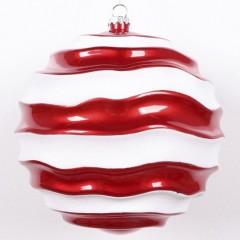 20 cm julekugle, perlemor rød med bølger af hvidt glitter