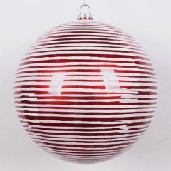 20 cm julekugle, perlemor rød med vandrette penselstriber