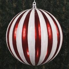 30 cm julekugle, lodrette striber, perlemor rød med hvidt glitter