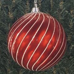20 cm julekugle, swirl, perlemor rød med hvidt glitter