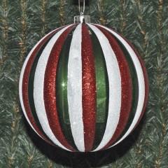 20 cm julekugle, perlemor grøn med striber af rødt og hvidt glitter