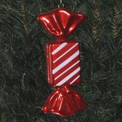 20 cm slik, rektangulær, perlemor rød med hvidt glitter, røde haler
