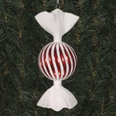 18 cm rundt slik, perlemor rød med swirl og haler i hvidt glitter