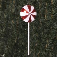 25 cm slikkepind, perlemor rød med hvidt glitter