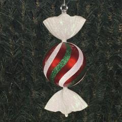 33 cm rundt slik, perlemor rød med hvidt og grønt glitter