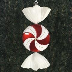 47 cm fladt slik, perlemor rød med hvidt glitter og lime stribe