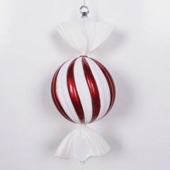 33 cm rundt slik, perlemor rød med swirl og haler i hvidt glitter