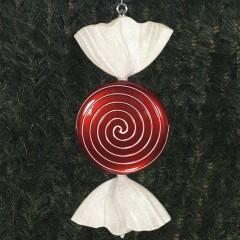 46 cm fladt rundt slik, perlemor rød med hvidt glitter