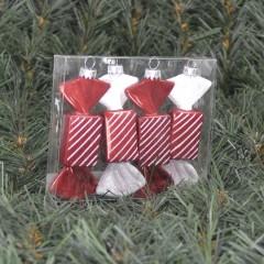 10 cm regtangulær slik, perlemor rød med hvidt glitter, 2 ass, 4 stk. i boks