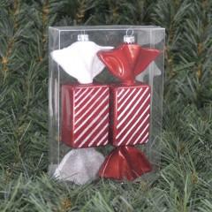 17 cm regtangulær slik, perlemor rød med hvidt glitter, 2 ass, 2 stk i boks