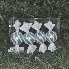 12,5 cm rundt slik, perlemor lyseblå med hvidt glitter, 4 stk i boks