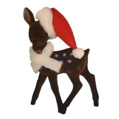 Bambi, 22x15 cm, brun velour med nissehue og krave