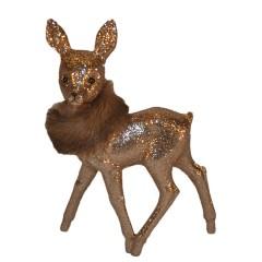 Bambi, 22x15 cm, sand glitter med brun pelsboa