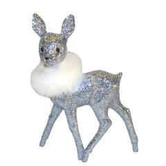 Bambi, 22x15 cm, sølv glitter med hvid pelsboa