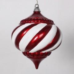 20 cm julekugle, onion, perlemor rød med hvidt glitter